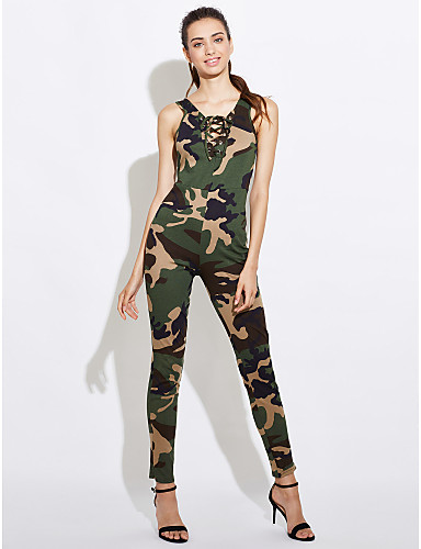 18fc3df4a2c0 Women s Lace up Daily   Going out Green Jumpsuit