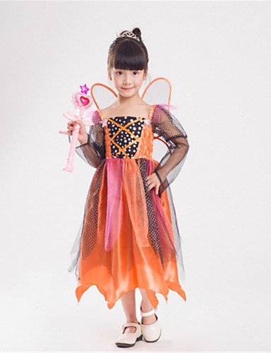 cheap Kids Halloween Costumes-Princess Fairytale Tinker Bell Cosplay Costume Kid's Halloween Festival / Holiday Polyster Orange Easy Carnival Costumes Fashion