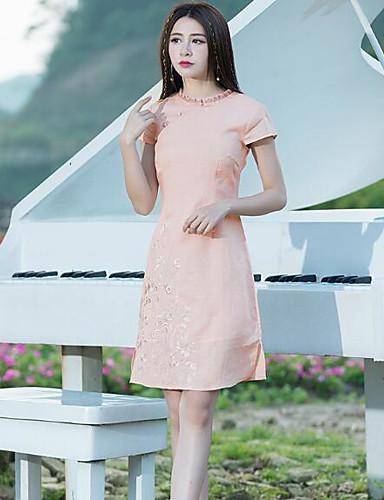 795ba4dad4933 Kadın Günlük/Sade Sade A Şekilli Elbise Solid Nakışlı,Kısa Kollu Yuvarlak  Yaka Diz üstü Keten Yaz Normal Bel Mikro-Esnek Orta 6248760 2019 – $23.09