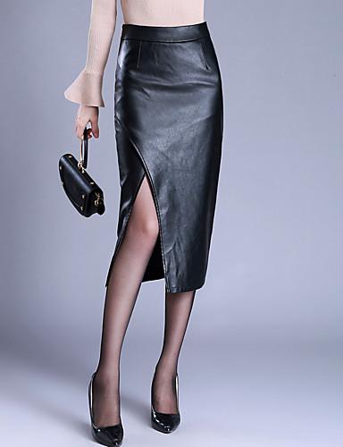 preiswerte Unterteile-Damen Übergrössen Alltag PU Bodycon Röcke - Solide Gespleisst Geschlitzt Winter Schwarz M L XL