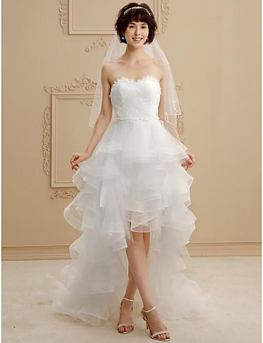 Báli ruha Szív-alakú Aszimmetrikus Csipke   Tüll Made-to-measure esküvői  ruhák val vel Csipke   Fodros által LAN TING BRIDE®   Kis fehér szoknyák    Open ... 9e50c2549d