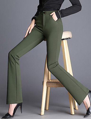 74e7e375a8 Women s Casual Plus Size Bootcut   Wide Leg   Chinos Pants - Solid Colored  High Rise