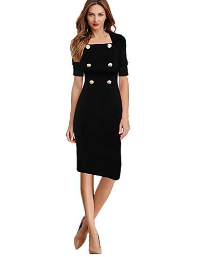 levne Pracovní šaty-Dámské Práce Vintage Bavlna Štíhlý Pouzdro Šaty - Jednobarevné Délka ke kolenům Hranatý Černá