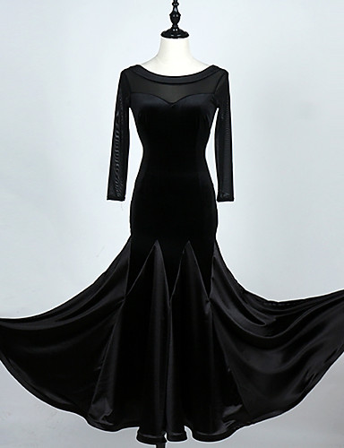 cheap Ballroom Dancewear-Ballroom Dance Dress Women's Performance 3/4 Length Sleeve High Stick-Satin Velvet