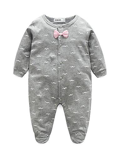 preiswerte Die besten Strampelanzüge-Baby Mädchen Wochenende Druck Langarm Anzug & Overall Leicht Blau