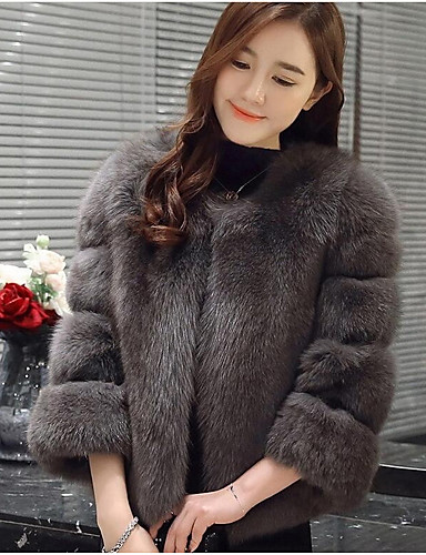 cheap Women's Outerwear-Women's Daily Fall / Winter Short Fur Coat, Solid Colored Round Neck Long Sleeve Fox Fur Gray / Purple / Pink