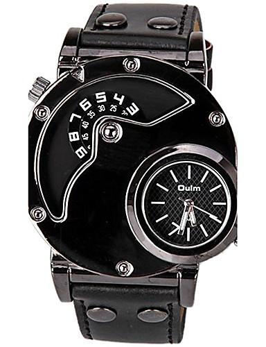 preiswerte Oulm®-Oulm Herrn Uhr Sportuhr Quartz Leder Schwarz Armbanduhren für den Alltag Cool Analog-Digital Klassisch Freizeit Modisch Kleideruhr Einzigartige kreative Uhr Schwarz / Ein Jahr / SSUO LR626