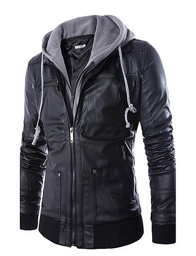cheap Must Get!Men's Jackets Hot Sale-Men's Daily / Weekend Simple / Casual Winter Regular Leather Jacket, Solid Colored / Color Block Hooded Long Sleeve PU Black