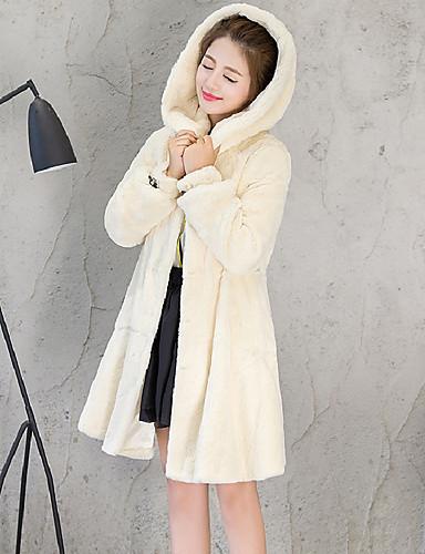 3aa07bd3a729 Γυναικεία Καθημερινά   Εξόδου Απλός   Καθημερινό Φθινόπωρο   Χειμώνας  Μεγάλα Μεγέθη Μακρύ Γούνινο παλτό