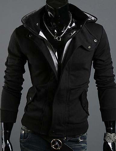 cheap Basic Hoodie Sweatshirts-Men's Plus Size Sports Hoodie Solid Colored Oversized Hooded Hoodies Sweatshirts  Long Sleeve Slim White Black Gray / Fall / Winter
