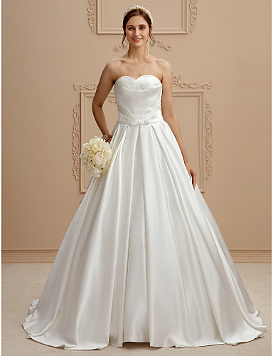 A-Line Sweetheart Neckline Court Train Satin Made-To-Measure Wedding Dresses Side Draping / Criss Cross / Criss-Cross LAN TING BRIDE® / Open Back