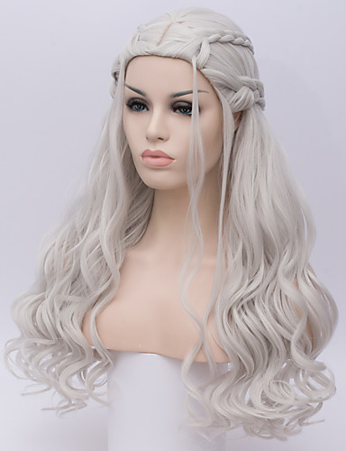 povoljno Anime cosplay-Sintetičke perike / Perike za maškare Duboko Val Kardashian Stil Capless Perika Bijela Srebro Sintentička kosa Žene Bijela Perika Dug