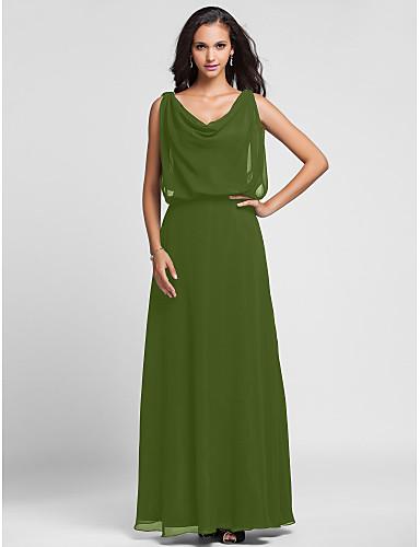 levne Šaty pro slavnostní příležitosti-Pouzdrové Nabíraný krk Na zem Šifón Formální večer Šaty s Nabírání podle TS Couture®