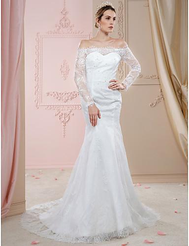 trompeta / sirena hombros caídos corte encaje vestidos de novia