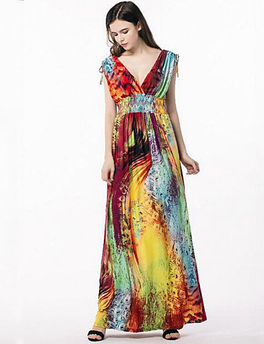 5e2e08e350178 Women s Plus Size Boho Street chic Maxi Swing Dress - Color Block Print V  Neck Summer Rainbow XXXXL XXXXXL XXXXXXL 6218278 2019 –  38.84