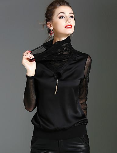 billige Dametopper-Rullekrage T-skjorte Dame - Ensfarget Gatemote / Sofistikert Ferie / Ut på byen