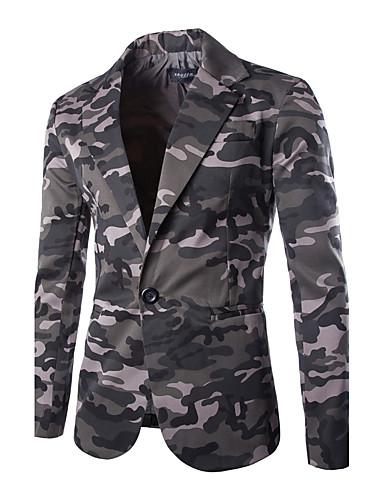 voordelige Uitverkoop-Heren Dagelijks / Weekend Herfst / Winter Normaal Blazer, camouflage Overhemdkraag Lange mouw Katoen Klaver / Grijs / Slank