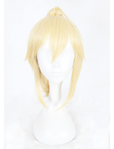 preiswerte Pflege & Haar-Synthetische Perücken Kinky Glatt Kinky Glatt Mit Pferdeschwanz Perücke Blond Kurz Blond Synthetische Haare Damen Geflochtene Perücke Blond