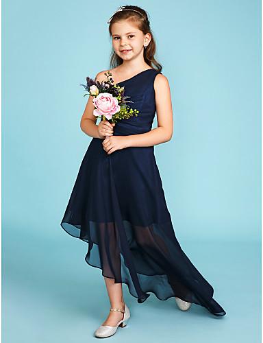 preiswerte Kleider für Junior-Brautjungfern-A-Linie Ein-Schulter Asymmetrisch Chiffon Junior-Brautjungferkleid mit Seitlich drapiert / Hochzeitsfeier