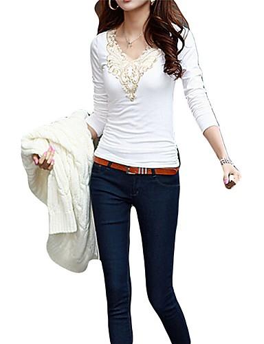 billige Dametopper-V-hals T-skjorte Dame - Broderi Ut på byen Svart og hvit Hvit