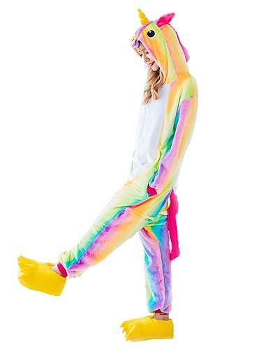 preiswerte PAJAMAJUMPSUITS-Erwachsene Kigurumi-Pyjamas Unicorn Fliegendes Pferd Pony Pyjamas-Einteiler Flanell Regenbogen Cosplay Für Herren und Damen Tiernachtwäsche Karikatur Fest / Feiertage Kostüme