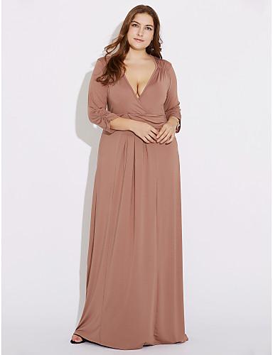 levne Sexy šaty-Dámské Větší velikosti Párty Volné Pouzdro Šaty - Jednobarevné Maxi Hluboké V