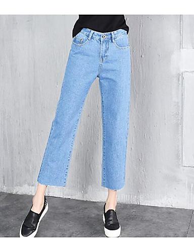 Dámské Jednoduchý Volné   Široké nohavice   Džíny Kalhoty Jednobarevné High  Rise   Léto   Kalhoty chinos 6223840 2019 –  12.59 1e65059f4e