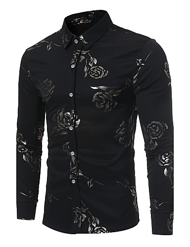 cheap Men's Shirts-Men's Floral Print Slim Shirt Party Daily Club Classic Collar Wine / Black / Navy Blue / Long Sleeve