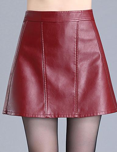 preiswerte Hosen & Röcke aus Leder-Damen Übergrössen Alltag A-Linie Röcke - Solide Winter Schwarz Rote M L XL