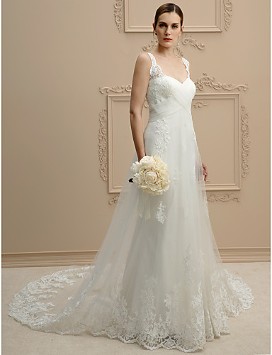 cheap Wedding Dresses-Ball Gown Sweetheart Neckline Chapel Train Lace / Tulle Spaghetti Strap Open Back / Floral Lace Wedding Dresses with Appliques / Criss-Cross 2020