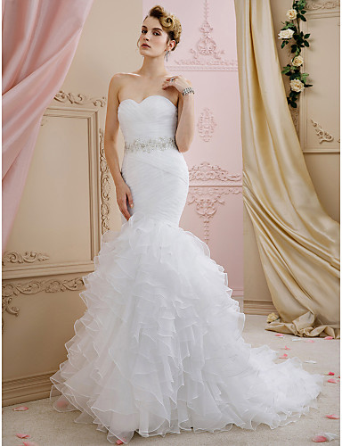 cheap Wedding Dresses-Mermaid / Trumpet Sweetheart Neckline Sweep / Brush Train Organza Strapless Romantic Sparkle & Shine Wedding Dresses with Sashes / Ribbons / Cascading Ruffles 2020