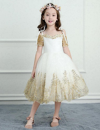 f0b7acf24b A-Line Tea Length Flower Girl Dress - Satin   Tulle Short Sleeve Spaghetti  Strap with Beading   Appliques by LAN TING BRIDE® 6234218 2019 –  99.99