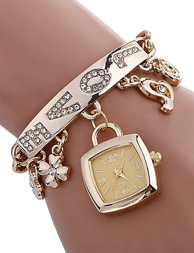 cheap Bracelet Watches-Women's Bracelet Watch Square Watch Quartz Stainless Steel Silver / Gold Water Resistant / Waterproof Creative Analog Ladies Charm Casual Fashion Elegant - Gold Silver