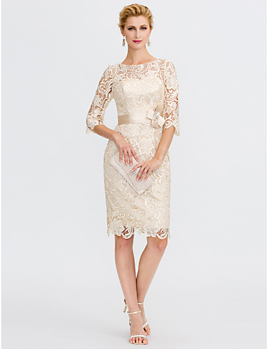 cheap Clearance-Sheath / Column Mother of the Bride Dress Elegant Plus Size Illusion Neck Knee Length All Over Lace 3/4 Length Sleeve with Bow(s) 2020 / Illusion Sleeve