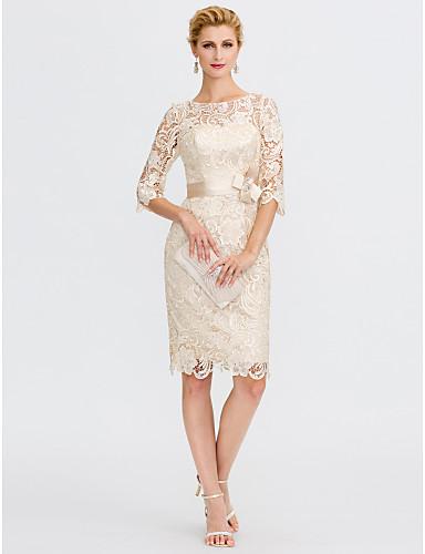 זול חיסול-מעטפת \ עמוד שמלה לאם הכלה  אלגנטית מידה גדולה אשליה באורך  הברך עשוי מתחרה שרוול 4\3 עם פפיון(ים) 2020