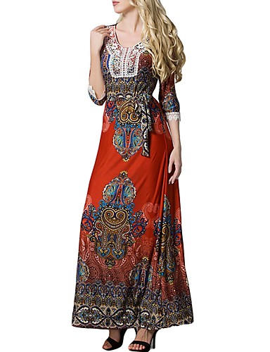 levne Maxi šaty-Dámské Větší velikosti kaftan Šaty - Etno, Tisk Maxi