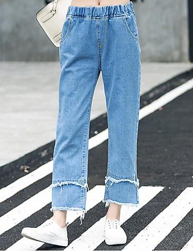 a7d353aa3d Mujer Sencillo Tiro Alto Microelástico Vaqueros Chinos Pantalones ...