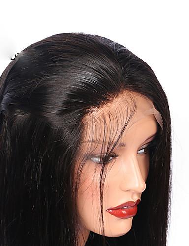 abordables Pelucas de Cabello Natural-Peluca Pelo Natural Frontal sin Pegamento Encaje Frontal Cabello Peruano Recto Mujer Densidad 130% con pelo de bebe Entradas Naturales Para mujeres de color Corta Media Larga Negro Natural Marrón