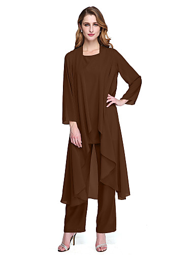 voordelige Wrap Dresses-pantsuit Scoop Neck Tot de enkel Chiffon Bruidsmoederjurken met Plooien door LAN TING BRIDE® / Wrap inbegrepen
