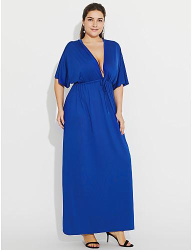 voordelige Grote maten jurken-Dames Grote maten Schede Jurk - Effen, Met ruches Diepe V-hals Maxi Blauw