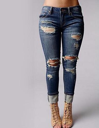 preiswerte Röcke & Hosen-Damen Skinny Jeans Hose - Solide Ausgeschnitten Blau