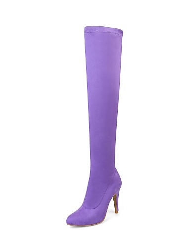 cheap 11.11 - Women's Boots Top Seller-Women's Boots Over-The-Knee Boots Stiletto Heel Pointed Toe Flocking Over The Knee Boots Fashion Boots Spring / Fall Black / Purple / Yellow / Sock Boots / Knee High Boots / EU39