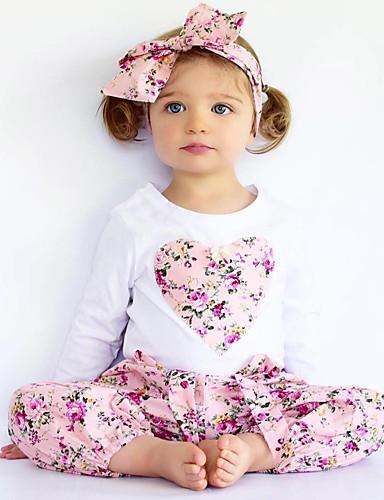 preiswerte Kinderkleidung-Baby Mädchen Blumig Zum Kleid Blumen Stickerei Druck Langarm Standard Standard Baumwolle Kleidungs Set Rosa