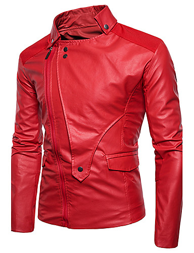 7879ae61e00 Men s Street chic   Punk   Gothic Plus Size Cotton Leather Jacket - Solid  Colored