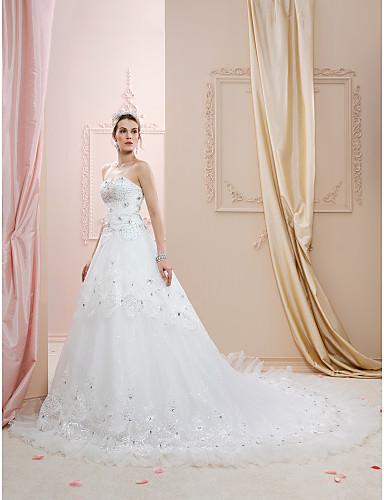 8605312a5 Corte en A   Princesa Escote Corazón Capilla Encaje   Tul Vestidos de novia  hechos a medida con Cristal   Lentejuela   Apliques por   Centello y Brillo  ...