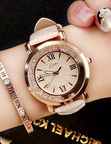 preiswerte Modische schicke Uhren für Damen-Damen damas Uhr Armbanduhr Quartz Gestepptes PU - Kunstleder Schwarz / Weiß / Blau Diamant Analog Luxus Glanz Retro Freizeit Modisch Schwarz Weiß Rot / SSUO 377