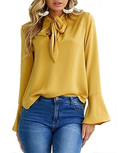 billige Dametopper-Skjortekrage Bluse Dame - Ensfarget Arbeid Rosa / Vår / Høst