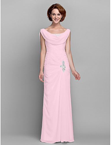 cheap Mother of the Bride Dresses-Sheath / Column Mother of the Bride Dress Vintage Inspired Cowl Neck Floor Length Chiffon Sleeveless with Buttons Criss Cross Crystals 2020 Mother of the groom dresses