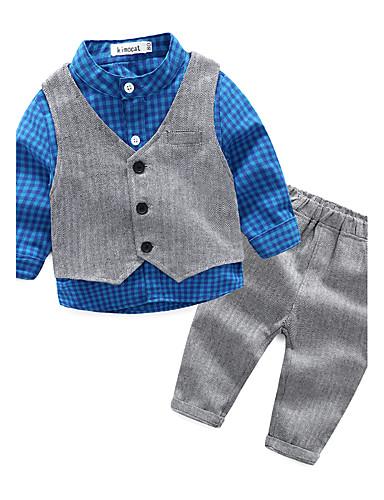 preiswerte Babykleidung-Set-Baby Jungen Kariert Lässig / Alltäglich Gitter Kleidungs Set Orange