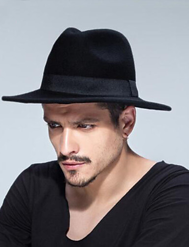 cheap Men's Hats-Unisex Traditional / Vintage Cotton Wool Blends Fedora Hat-Solid Colored Pure Color Fall Winter Camel Gray Wine